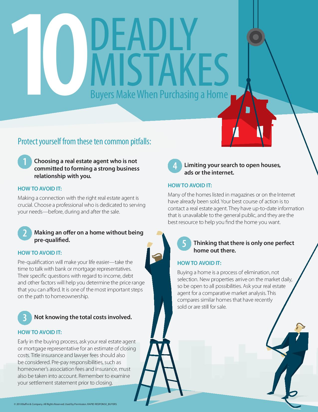 List of the first 5 deadly mistakes buyers make when purchasing a home